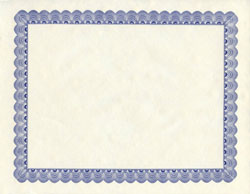 "Conventional Blue Award Certificates 8.5""x11"", 50/PK"