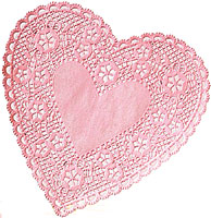Pink Lace Heart Paper Doilies, 6, 18/PK