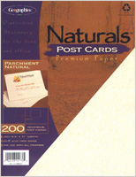 "Parchment Natural 4 UP Postcards, 4.25""x5.5"", 200/PK"