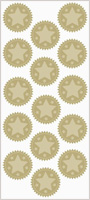 Gold & Silver Foil Embossed Star Seals, 15/PK, 12 Pks/Case