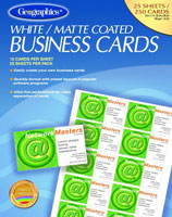 "Blank White Matte Coated Business Cards, 2""x3.5"", 250/PK"