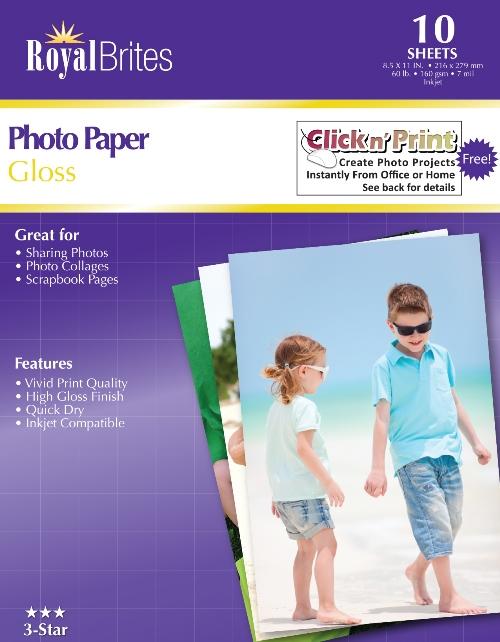 Glossy Photo Paper 85x11 Royal Brites