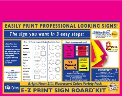 E-Z Print Sign Board Kit, Fluorescent Neon 2 Cool Colors Variety Pack, 22x28, 5/PK, 10 Pks/Case