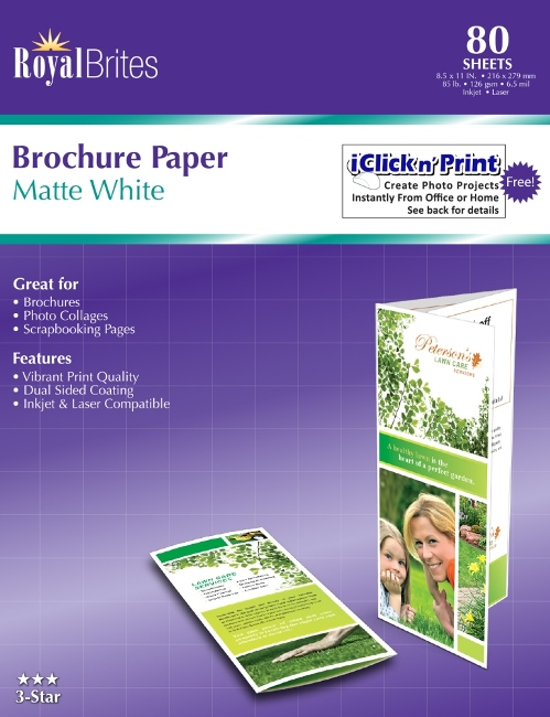 Premium Brochure Paper Matte 2 Sided 85x11 Royal Brites