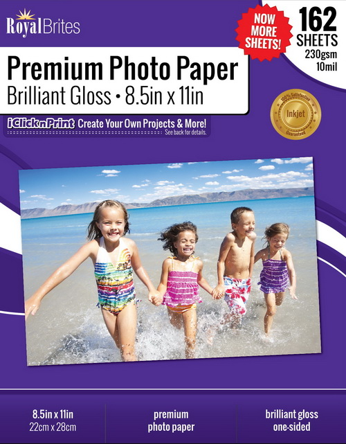 Brilliant High Gloss Photo Paper Glossy Matte 85x11 Case Royal