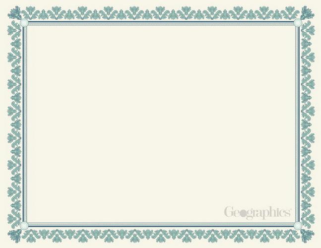 Blank Certificates Parchment Blue Green Fleur 8.5\