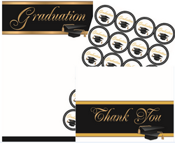 Graduation Invitation Kit, Gold Foil, 5.5x8.5, Set of 24, 120 Pieces/PK