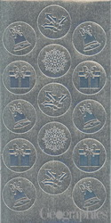Christmas Ornaments Silver Foil Embossed Seals, 1.25, 40/PK