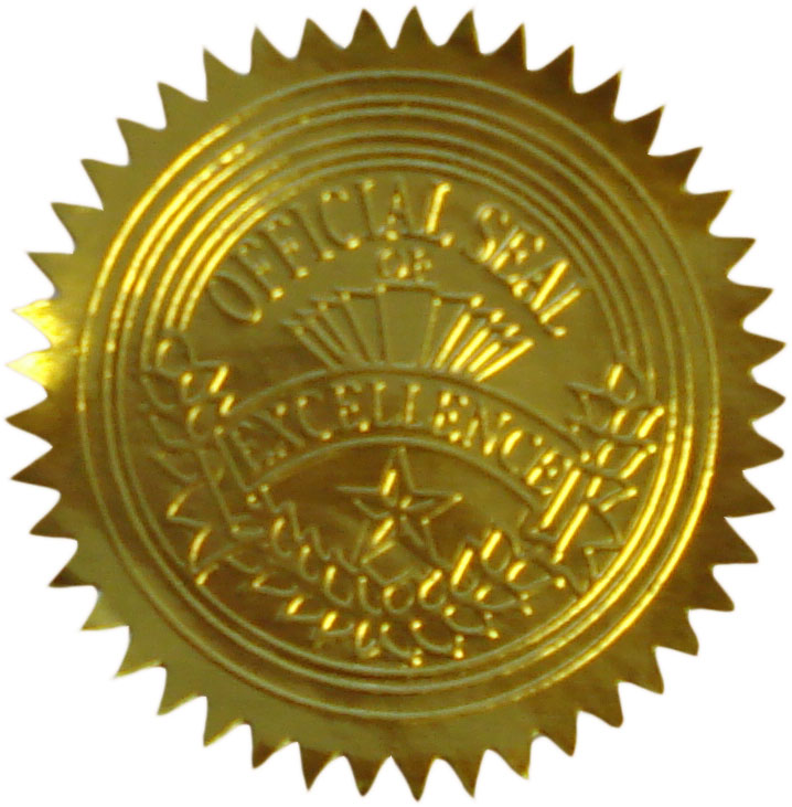 Official Seal Of Excellence Certificate Seals 20014 Geographics