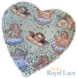 6 Cherub Foil Hearts Doilies Royal Lace, 2000/Box, 1 Box/Case