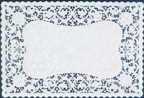 Bobbin French Lace White Paper Placemats 9.75 x14.5\