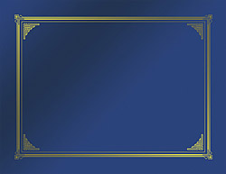 "Blue Metallic Classic Document Covers, Gold Foil, 9.75""x12.5"", 6/PK"