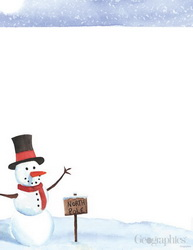 North Pole Snowman Christmas Letterhead, 8.5x11, 80/PK
