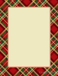 Plaid Christmas Letterhead, Gold Foil, 8.5x11, 40/PK