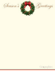 seasons greetings wreath christmas letterhead gold foil 85x11 40pk