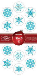 "Snowflakes Christmas Embossed Seals, Blue Foil, 1.25"" dia., 40/PK"
