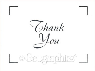 white silver foil thank you cards 4 25 x5 5 case geographics