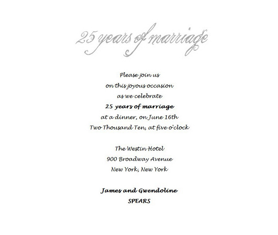 25th anniversary invitation templates fieldstation wedding free suggested wording by theme geographics stopboris Image collections