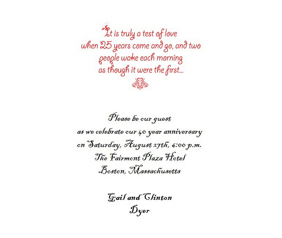 25th Wedding Anniversary Invitations 5 Wording | Free Geographics ...