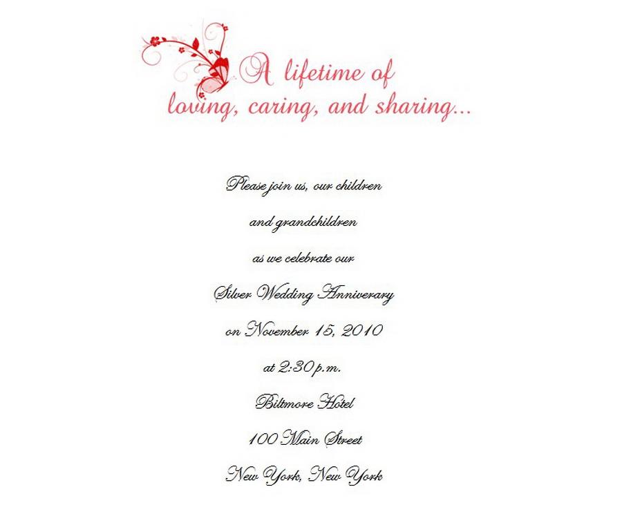 25th Wedding Anniversary Invitations 7 Wording Free Geographics