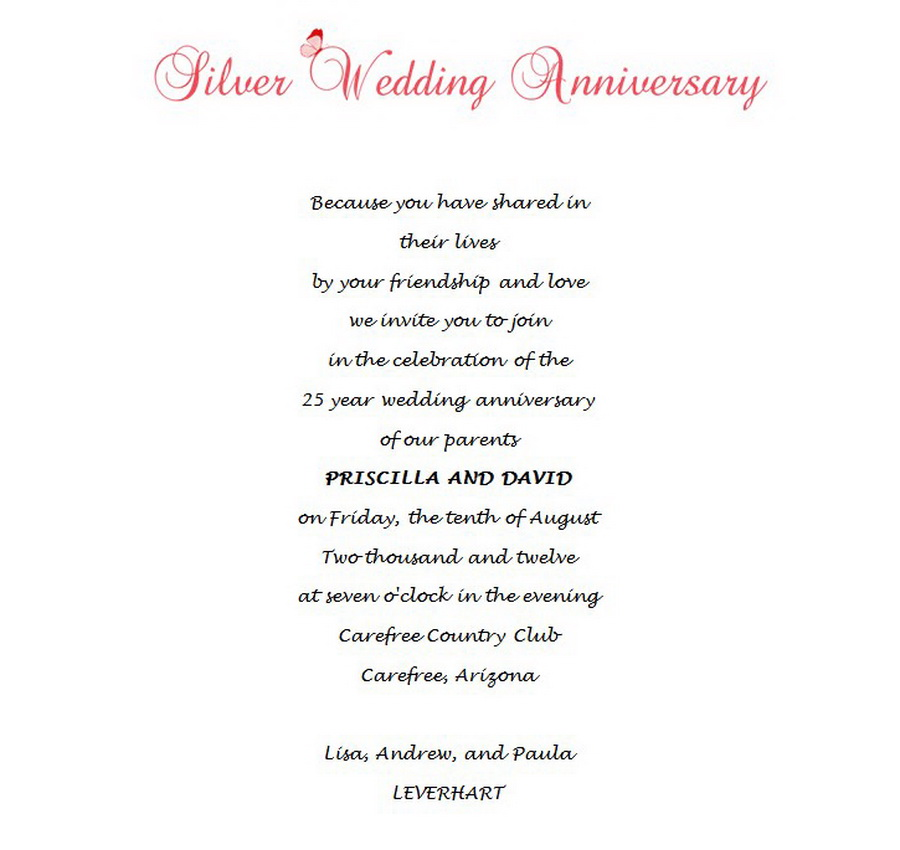 25th Wedding Anniversary Invitations 8 Wording Free Geographics