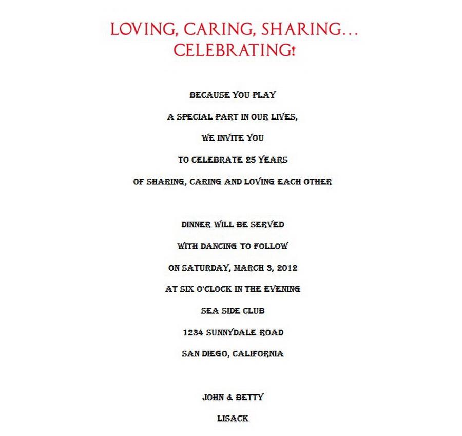 25th wedding anniversary invitations 9 wording free geographics 25th wedding anniversary invitations wording 9 stopboris Images