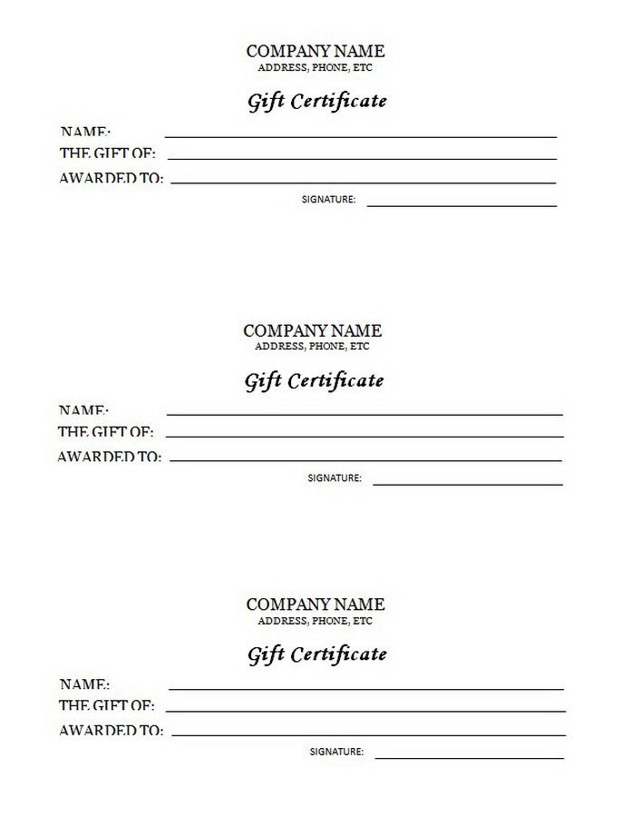 Awards Certificates, Templates With Clip Art U0026 Wording  Gift Certificate Wording