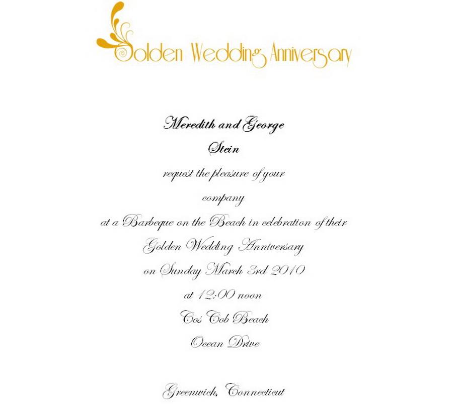 50th Wedding Anniversary Invitations 3 Wording   Free Geographics ...