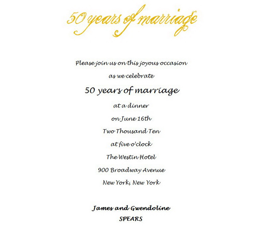 Golden Wedding Anniversary Invitations Free Templates   Wedding