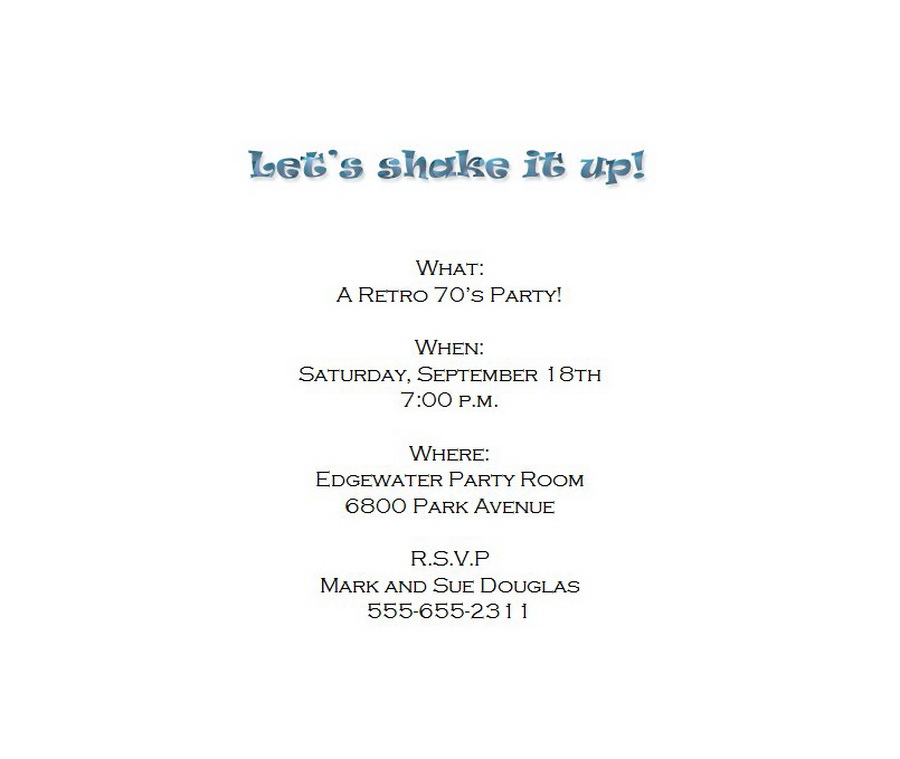 70\'s Party Invitation 3 Wording | Free Geographics Word Templates