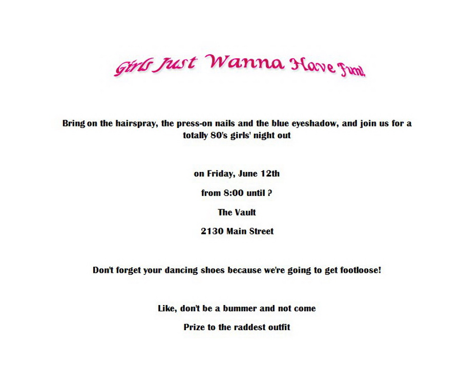 80\'s Party Invitation 4 Wording | Free Geographics Word Templates