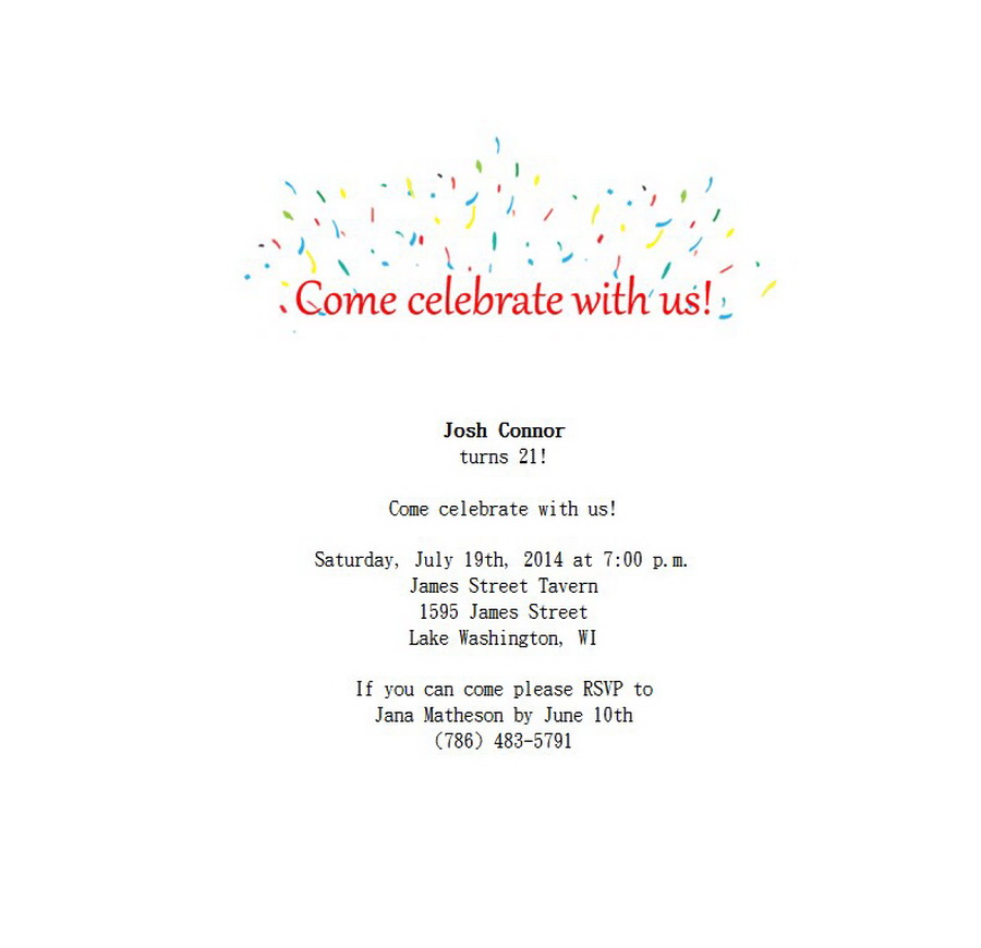 Adult\'s 21st Birthday Invitation 1 Wording | Free Geographics Word ...