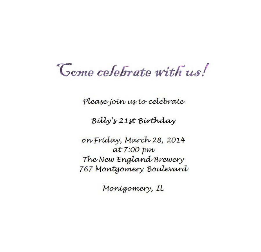 Adult\'s 21st Birthday Invitation 4 Wording | Free Geographics Word ...