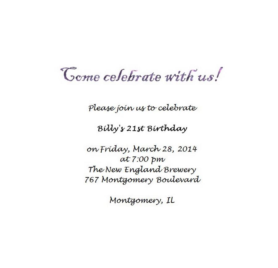 Adult's 21st Birthday Invitation Wording 4