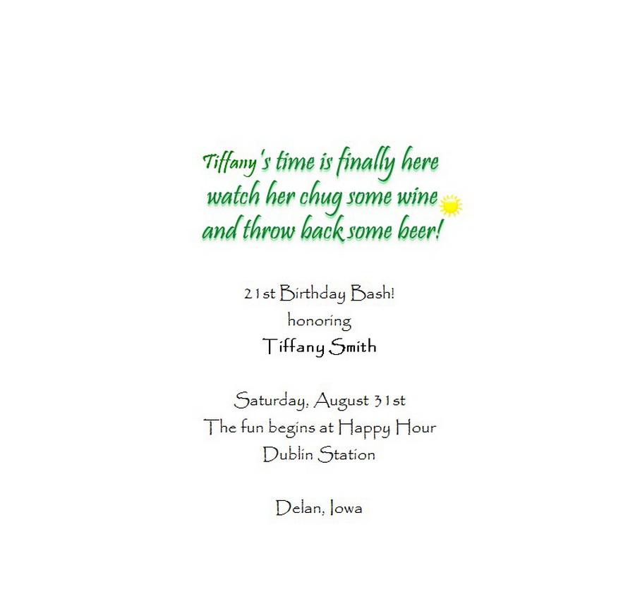 Adult's 21st Birthday Invitation Wording 7
