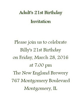 Adult S 21st Birthday Invitation Wording Free Geographics Word