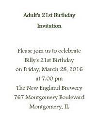Adult's 21st Birthday Invitation Wording
