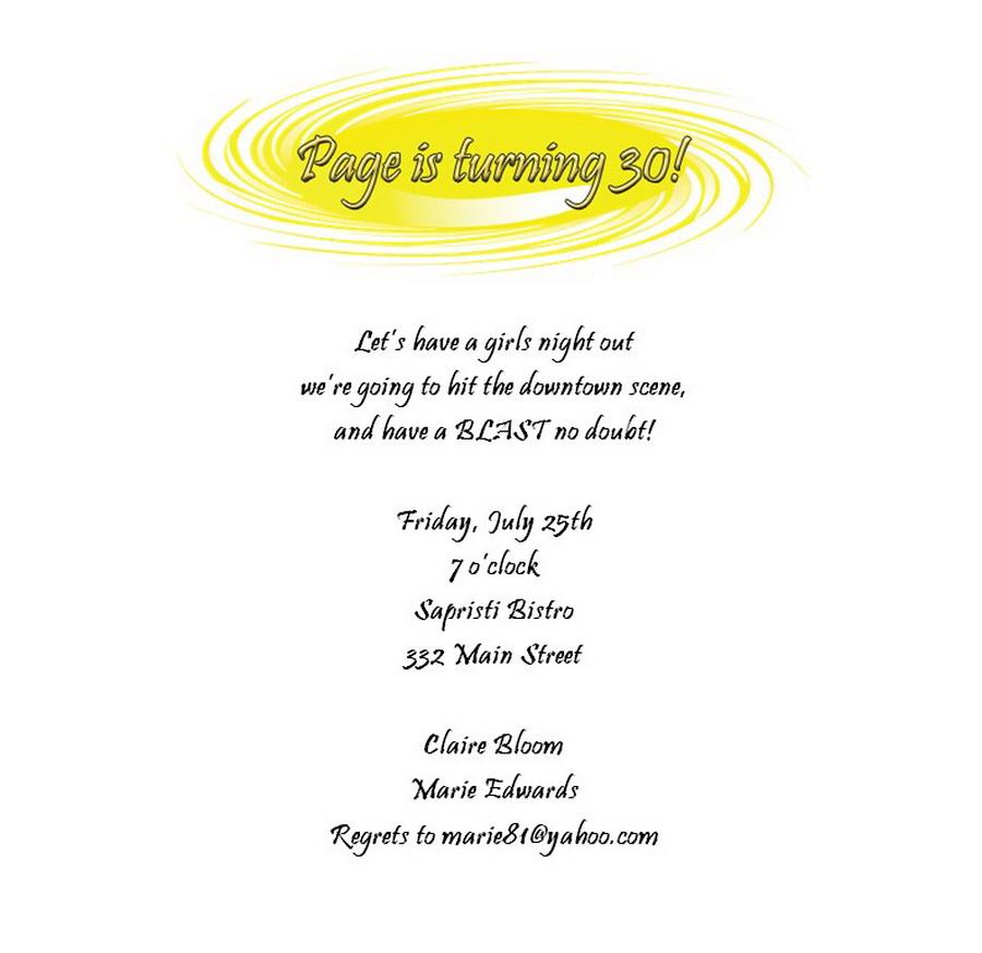 Adultu0027s 30th Birthday Invitation Wording 1