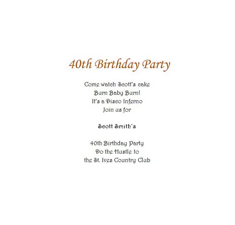 Adults 40th Birthday Invitation Wording 8