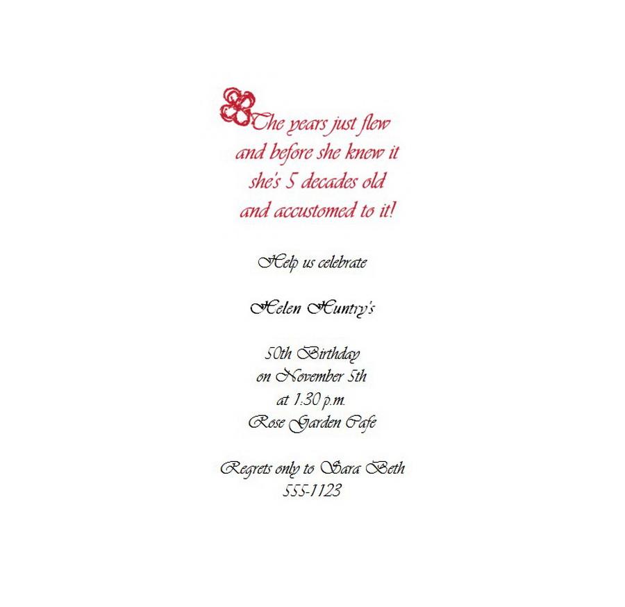 Adult\'s 50th Birthday Invitation 4 Wording | Free Geographics Word ...