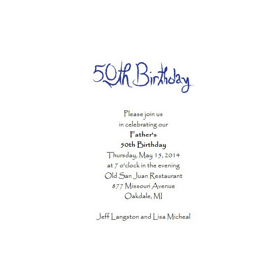 Adult S 50th Birthday Invitation 5 Wording Free Geographics Word