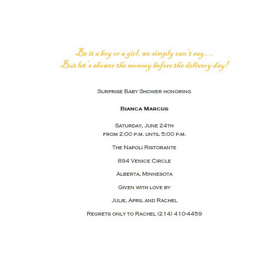 Baby Shower Surprise Shower Announcements 4 Wording Free Word