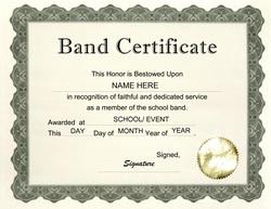 band certificate clip art wording