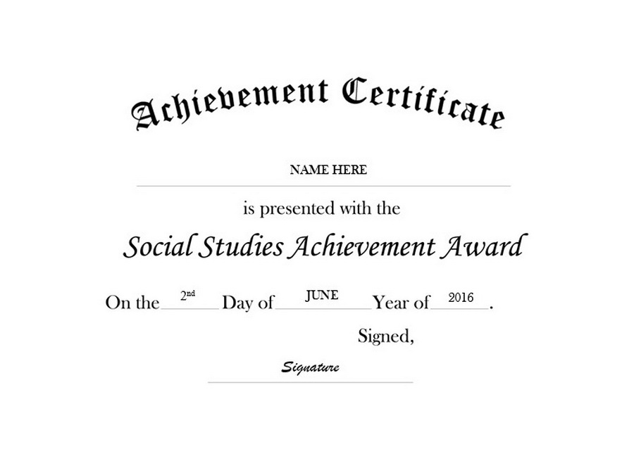 Certificate of Achievement in Social Studies Free Templates Clip Art ...