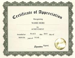 wordings for certificate of appreciation