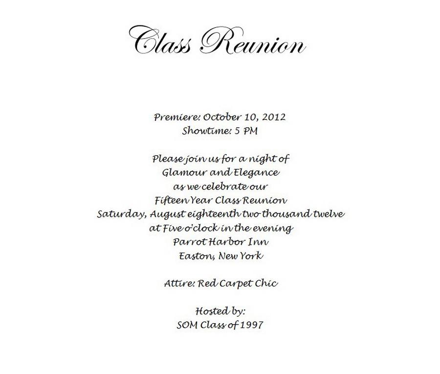 Class Reunion Invitation 3 Wording | Free Geographics Word Templates