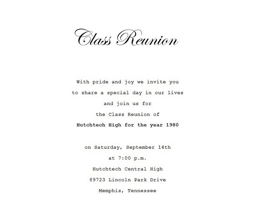 Class reunion invitation 4 wording free geographics word templates class reunion invitation wording 4 stopboris Images