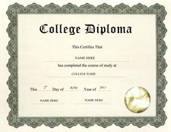 college diploma clip art wording - University Graduation Certificate Template