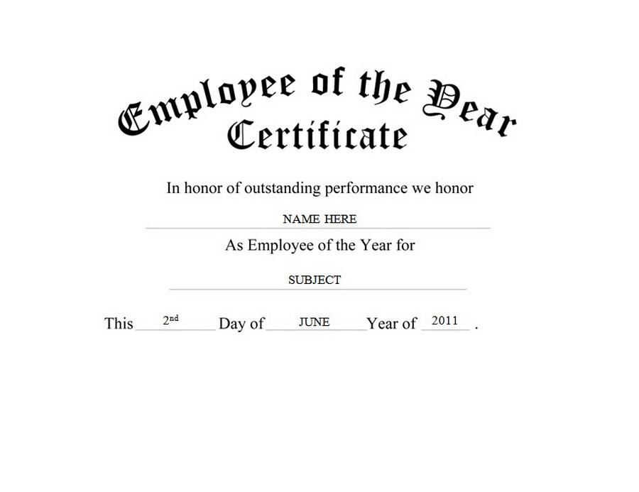 employee of the year certificate clip art wording
