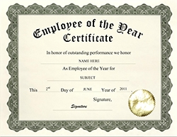 employee of the year certificate clip art wording - Employee Of The Year Certificate Free Template